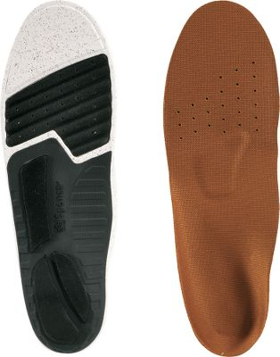 Camp and Hike Composed of 55% recycled and renewable materials, these replacement insoles are an eco-friendly way to enjoy firm support and cushioning for your feet. They use a 3-Pod cushioning system that follows the path of the heel strike and foot plant, absorbing shock and helping to prevent over-pronation. PolySorb stability cradles made of recycled nylon supply arch support and deep heel cupping for stability. Metatarsal arch supports off-load pressure from the balls of your feet while forefoot crash pads provide extra cushioning. Topsheets are made of recycled fabric with Ultra-Fresh Silpure antimicrobial treatment to prevent foot odors. Full-length cushioning is supplied by middle sections of recycled EVA and cork to enhance comfort further. These footbeds can be hand washed with warm water and air dried. To size, remove your old footbeds, place them on top of these new ones, trace around the edges with a pen and trim off the excess. Thickness at heel: 38 . Thickness at forefoot: 18 . Sizes: 5/6, 6/7, 8/9, 10/11, 12/13, 14/15. Sizing Chart Size 0 1 2 3 4 5 6 U.S. Women's 3/4 5/6 7/8 9/1 Size: 5. Type: Insoles. - $19.88