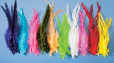 Flyfishing Long webby hackles add realistic movement to your salmon and steelhead wets, spey patterns or saltwater flies. Made in USA. Colors: (001)UV White, (002)UV Olive, (004)UV Purple, (005)UV Red, (006)UV Chartreuse, (007)UVFluorescent Pink, (009)UV Hot Pink. Color: Chartreuse. Type: Feathers. - $5.99
