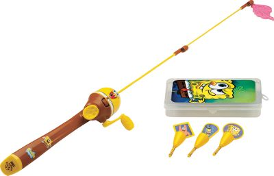 Fishing Get your kid fishing with his favorite cartoon character SpongeBob! Easy-to-use spincast reel is combined with a telescoping 3-ft. rod. Floating handle keeps the rod and reel buoyant in the event of an accidental drop overboard. Includes kid-sized tackle box and three-piece bobber set. Reel is pre-loaded with 6-lb.-test monofilament. - $17.99