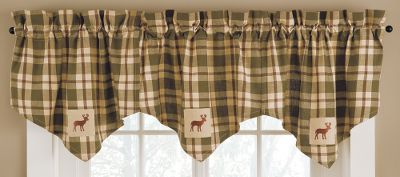 Hunting Creating an outdoors-inspired look in an any room is as easy as adding these valances. 2 rod pocket. 1-1/2 header. 100% cotton. Machine washable. Imported. Dimensions: 29L x 22H. Available: Deer, Cabin, Star, Pine Ridge. Gender: Male. Age Group: Adult. - $14.99
