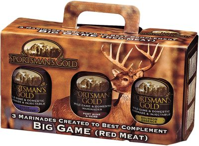 Marinades crafted by sportsmen to complement the mouth-watering complex flavors of wild game. Three flavors per pack.Includes: Honey-Garlic Herb, 16 oz. Smokey Apple Clove, 17.2 oz. Maple Pepper, 17.9 oz. Type: Sauces & Marinades. Flavor Upland. - $24.99