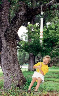 Camp and Hike This backyard Spring Swing combines the fun of a traditional swing with a new, springy, bouncing motion for adventurous outdoor play. It includes a quick-attaching Q-clip, bounce adapter, 11-ft. weather-resistant rope and a disc seat. Meets ASTM standard consumer-safety performance specs for home- and public-use playground equipment. Ages 3-8. Optimum bouncing between 30-70 lbs. Safety-tested to 600 lbs. Made in USA. - $99.88