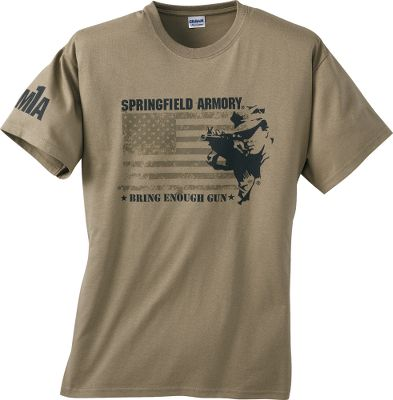 Springfield owners and gun enthusiasts can sport their colors proudly with these stylish, all-cotton t-shirts. Made in USA.Sizes: M-2XL.Styles: M1A Distressed Flag features front and sleeve logo. Color: OD Green. XD Pistol features front middle chest logo and back logo. Color: Black. - $7.99