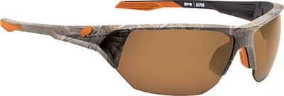 Hunting SPYs Alpha Sunglasses are sport-ready, with premium, flexible Grilamid frames that are shatter- and glare-resistant, comfortable and ready for whatever climate youre in. The Signature Scoop venting system combats lens fogging. The Arc (Accurate Radius Curvature) lenses are made of impact-resistant polycarbonate, and the 8-base curvature provides high-quality, optically correct, distortion-free vision. Built-in hinge system provides flex and comfort. Hytrel rubber nose pads and temple tips. 100% UVA, B and C protection. Nonpolarized. Medium- to large-sized fit. - $120.00