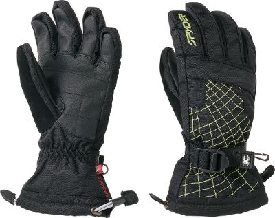 Ski You wont have to worry about your youngsters hands getting cold and wet with these gloves. The Xt coating and ultradurable Spylon finish combine with the Spyder DRY waterproof inserts to keep moisture out. Micro-Bemberg brushed tricot linings with 200-gram ThermaWeb insulation keeps your kids hands toasty during extended outdoor adventures. Over-the-cuff construction extends the gloves over jacket cuffs to keep snow from sneaking in. Super-soft chamude nose wipes on the thumbs. Adjustable wrist straps ensure a snug, proper fit. Synthetic palms provide a no-slip grip suitable for skiing, sledding or other outdoor adventures. Zippered heater-pack pockets provide a place for warming packs (not included). Imported.Sizes: S-XL.Colors: Black/Sharp Lime, Black/Red, Black/White (not shown). - $35.88