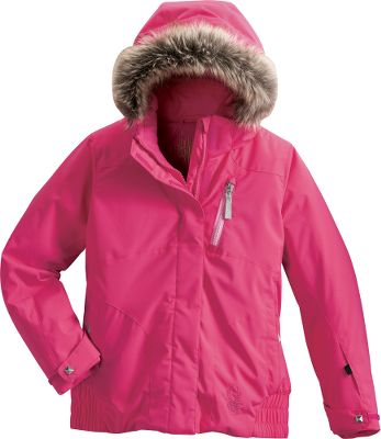 The Spyder Girls Lola Jacket provides stylish mobility for cold-weather fun. This critically seam-taped jacket with 140-gram Therma-Web insulation delivers superior cold-weather performance. Removable hood framed with cute faux fur is great for unpredictable weather conditions. Silky-smooth nylon taffeta lining for comfort and freedom of movement. A powder skirt keeps the snow out while the snap-back feature holds it out of the way when not in use. Stretch-polyester shell with Xt.L membrane delivers superior waterproof breathability. The durable Spylon+ finish guards against stains and withstands abuse to maintain the jackets waterproof qualities. Zippered chest pocket, data-card pocket and multiple internal pockets provide protective storage for her belongings. Drawcord adjustable hem in the zippered hand pockets. Velcro adjustable cuffs. Imported.Center back length: 21-3/4.Even sizes: 8-20.Colors: Gypsy, Diva Pink, Sunrise Speed Lines, Regal, Amethyst Expression Print, Diva Pink Dot Fade Print. Type: Jackets. Size: 14. Color: Regal. Size 14. Color Regal. - $135.88