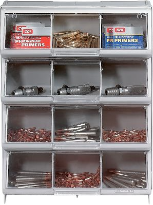 Store more in less space with this organizer. Great for your reloading bench. Allows you to view parts and supplies at a glance. Covered bins keep your supplies secure. Clear covers lift up and lock in place providing easy access to contents. Lightweight, durable organizer has built-in top handle for easy portability. Built-in feet keep unit stable and upright. Measures: 14-3/8 W x 5 D x 18-1/2 H. Color: Clear. - $11.99