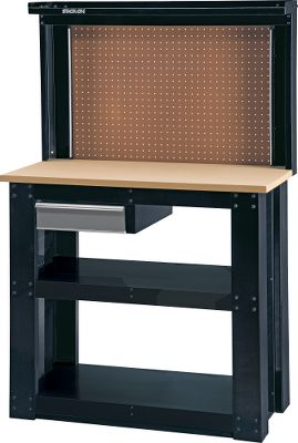 The sturdy, compact WB-382 reloading bench has a glossy-black epoxy finish and assembles in minutes. Its 1-thick MDF work surface fastens directly to the steel end panels. I-Beam design makes it extremely strong and stable. Two large shelves provide additional storage and end panels have pegboards for hanging tools and supplies. Top is 20 x 42. Shelves are 17 x 38. Top supports up to 300 lbs. and each shelf supports up to 100 lbs. Dimensions: 36H x 42W x 20D. The WB-402 reloading bench with back wall is a full-sized bench that assembles in minutes. A pegboard and shelf on the back wall hold up to 75 lbs. Its 1-thick MDF 40 x 20 work surface supports up to 300 lbs. Top fastens directly to inset steel end panels that make the entire bench extremely strong and stable. Two full-length steel shelves provide additional storage and support up to 125 lbs. The steel drawer holds up to 25 lbs., can be mounted on the right or left and features ball-bearing glides for smooth operation. The finish is glossy-black epoxy with silver on the drawer. Dimensions: 58H x 40W x 20D. Color: Silver. - $104.99