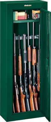Hunting Your guns and valuables can be safely locked away in a Stack-On Gun Cabinet. A superior three-point, double-bitted, key-coded lock secures the unit. The door has a full-length welded and staked piano hinge. Inside are patented, contoured, nonmarring barrel rests that include standoffs to secure up to eight scoped guns. The exterior has a durable, baked-epoxy finish. Fastening hardware and pre-drilled holes facilitate mounting. Foam-padded bottom. Weight: 72 lbs. Dimensions: 55H x 21W x 10D. Colors: Black, Green. Color: Green. Type: Cabinets. - $149.99