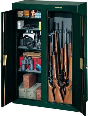 Hunting Your guns and valuables are safely locked away in a Stack-On Gun Cabinet. A superior three-point key-operated locking system secures the unit. The doors use full-length welded and staked piano hinges. Its exterior has a durable baked-epoxy finish in hunter green. Fastening hardware and pre-drilled holes facilitate mounting. The gun storage side of the 16-Gun Double-Door Cabinet has foam padding on the sides and bottom. The cabinet section sports four removable, padded steel shelves. Includes barrel rests that replace shelves for storing an additional 15 guns. Measures: 55H x 38W x 18D. Weight: Approximately 152 lbs. Lift gate service (if desired) is not included in gun cabinet price. Color: Green. - $369.99