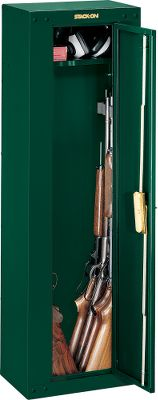Hunting Your guns and valuables can be safely locked away in a Stack-On Gun Cabinet. A superior three-point, double-bitted, key-coded lock secures the unit. The door uses a full-length welded and staked piano hinge. The exterior has a durable, baked-epoxy finish. Fastening hardware and pre-drilled holes facilitate mounting. Standoffs enable you to secure up to eight scoped guns. Foam-padded bottom. Dimensions: 53H x 17W x 11D. Color: Black. Color: Black. - $149.99