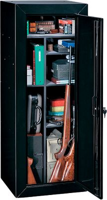Hunting Customize your storage with this unit. Set up to hold 18 long guns up to 54 long. Or convert the interior using the adjustable shelves for storing handguns, electronics, optics and similar items. Three-point keyed locking system. Predrilled holes for mounting. Size: 55 H x 21 W x 18 D. Weight: 102 lbs. - $199.99