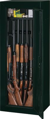 Hunting Your guns and valuables can be safely locked away in this Stack-On Gun Cabinet. A superior three-point, double-bitted, key-coded lock secures the unit. The door uses a full-length welded and staked piano hinge. Inside are patented, contoured, nonmarring barrel rests that include standoffs for scoped guns. The exterior has a durable, baked-epoxy finish. Fastening hardware and pre-drilled holes facilitate mounting. Removable top shelf provides ample storage for handguns, cameras and other valuables. Top shelf is conveniently positioned in front with a gap between the shelf and cabinet wall. This allows for guns (up to 54 tall) to be stored along the back wall. Barrel rests and foam-padded sides and bottom reduce scratches. Lift gate service (if desired) is not included in gun-cabinet price. Made in USA. Dimensions: 55H x 21W x 16D. Weight:76.4 lbs. Colors: Black, Green. Color: Green. Type: Gun Cabinets. - $179.99