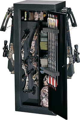 Hunting Heavy-duty all-steel bow storage cabinet with foam padding on the bow side for protection. It can hold up to four standard-sized compound bows when you remove the shelving. One full-width shelf and two half-shelves provide ample storage for accessories. Custom foam arrow keeper on the inside door holds 12 arrows. Dimensions: 55H x 21W x 18 D. Weight: 87 lbs. Color: Black. Color: Black. Type: Gun Cabinets. - $249.99
