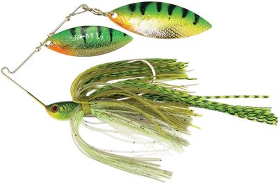Fishing Custom-matched painted blades give it an irresistible look, while the patented, tapered stainless steel wire and VibraShaft delivers lifelike movement under water. Ultrarealistic heads and eyes. Accent flash skirts for added attraction. Per each. Sizes: 3/8 oz., 1/2 oz. Colors: (300)Watermelon Gray/Chartreuse, (303)Chartreuse/White/Blue, (305)Golden Bream, (308)Sexy Shad, (310)Toledo Gold, (317)Bleeding Shad, (324)Mouse, (325)Ghost Shad. - $3.88