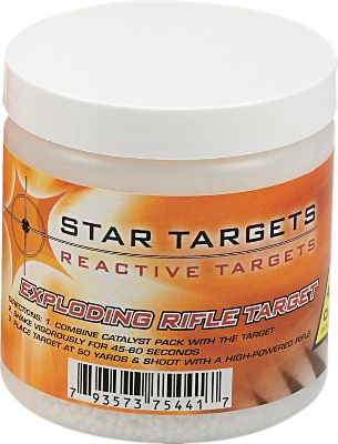 Get a bigger bang out of shooting with targets that explode! These consist of two inert components that, when mixed, blow up if impacted by a high-velocity projectile. Easy to mix and use, they wont go off if dropped or when set on fire. It usually takes at least a 40-gr. bullet with a velocity of 2,200 fps or more to detonate. Dont transport or sell mixed components. Mixed components are considered explosive material and local, state and federal explosives regulations apply. Check local laws before ordering. Per 3.Available:1/2 lb. (minimum safe distance 50 yards.)1 lb. (minimum safe distance 50 yards.)2-1/2 lbs. (minimum safe distance 50 yards.) Type: Targets. Type: Target. Size 2 1/2lb.. - $54.99