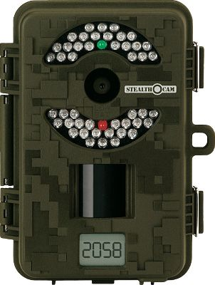 Hunting This latest addition to the Stealth Cam family shoots high-resolution, 8.0-megapixel images and features a Burst Mode capable of up to six images per triggering. 46 infrared emitters provide more than 50 ft. of nighttime IR range. Simple switch design makes setup quick and easy. Images are stamped with date, moon phase and temperature. One-second trigger speed. External LCD image counter. Adjustable infrared range. 20-second to 10-minute time-out settings. Three resolution settings. SD card slot accepts up to a 16GB memory card (SD cards sold separately). Video out jack and external power jack for use with 12-Volt Battery Kit (sold separately). One set of eight AA batteries provides enough power to capture 10,000 images. Dimensions: 6H x 4W x 3D. Type: Infrared. Type: Infrared. - $99.88