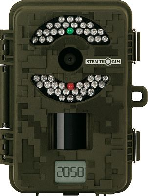Hunting This latest addition to the Stealth Cam family shoots high-resolution, 8.0-megapixel images and features a Burst Mode capable of up to six images per triggering. 46 infrared emitters provide more than 50 ft. of nighttime IR range. Simple switch design makes setup quick and easy. Images are stamped with date, moon phase and temperature. One-second trigger speed. External LCD image counter. Adjustable infrared range. 20-second to 10-minute time-out settings. Three resolution settings. SD card slot accepts up to a 16GB memory card. Video out jack and external power jack for use with 12-Volt Battery Kit (sold separately). One set of eight AA batteries provides enough power to capture 10,000 images. Dimensions: 6H x 4W x 3D.Includes: Stealth Cam Delta 8 Trail Camera Eight AA lithium batteries 2GB SD card - $189.97