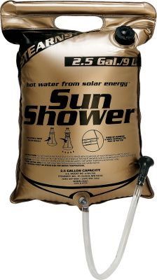 Camp and Hike With the compact, easy-to-stow Sun Shower, you can use the power of the sun to enjoy a hot shower at even the most remote, out-of-the-way locations. Simply fill the puncture- and tear-resistant four-ply bag with water and set it in the sun. An innovative TempTracker indicator tells you the internal water temperature. Bag holds up to 4 gallons depending on model, plenty for four or five showers. And it sports a reinforced pipe handle and virtually indestructible double-welded seams. High-impact ABS shower head with adjustable flow control. Mesh carry bag included. Available: 4.0 gallon shower. Color: Brown. Type: Portable Showers. - $24.99