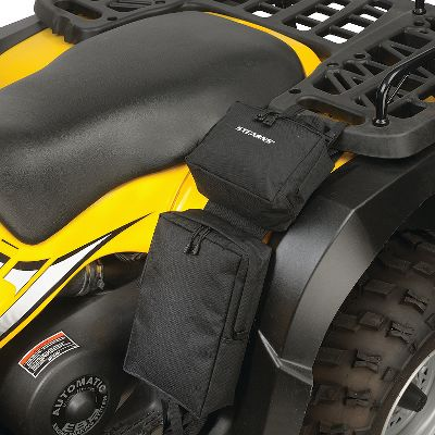 Motorsports Make use of every bit of free space on your ATV with these easy-access fender bags. A large 11.5H x 7.5W x 3D storage compartment and a 6H x 7.5W x 3.5D upper pocket have heavy-duty protected zippers. They are made of heavy-duty, water-resistant PVC-laminated polyester, and have gear-securing elastic straps inside. Attaches to rear cargo rack. Imported.Color: Black. - $4.88