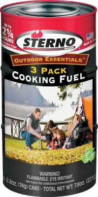 Camp and Hike Essential for camping, cabins or emergency prep, Sterno canned cooking fuels offer consistent burn time, instant ignition and always-on-hand convenience. Specially formulated fuel offers odorless, smokeless, clean-burning performance. Its environmentally friendly formula is also water-soluble and biogradable. Smart Can indicator shows when the can is too hot to touch. Recyclable steel can resists spilling if tipped. Generates maximum heat for safe food temperature. Available: 2.6-oz. Cooking Fuel Three-Pack Each can burns for 45 min. Dimensions: 7.5H x 2.63-dia. Weight: 11.2 oz. 7-oz. Cooking Fuel Two-Pack Each can burns for 120 min. (Compatible with Sterno Portable Folding Stove.) Dimensions: 6.25H x 3.33-dia. Weight: 17.44 oz. Color: Red. Type: Fuel. - $7.99
