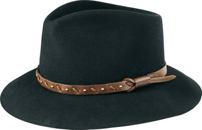 Designed exclusively for Cabelas customers, this is a rugged, sharp-looking Gun Club rendition of Stetsons Three Forks hat featuring a 2-1/2 brim. This hats body is rabbit and hare fur with a teardrop-style, pinch front crown. The eye-catching headband is genuine leather with wax-cord stitching and antiqued-brass stud detail. Comfort-fit sweatband is made of leather with a comfortable polyester/cotton facing and new Stetson Gun Club satin lining. Made in USA, just as Stetson has been doing since 1865. Sizes: 6-3/4, 6-7/8, 7, 7-1/8, 7-1/4, 7-3/8, 7-1/2. Colors: Walnut, Black. Size: 7. Color: Black. Gender: Male. Age Group: Adult. Material: Polyester. - $99.99