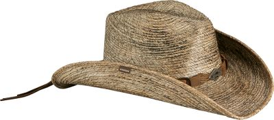 Crafted of stained sewn-braid palm-leaf straw for lightweight, airy comfort. Wide 3-1/2 brim increases shade coverage. Leather hatband with Stetson concho. Wire in brim for shaping. Cushioned sweatband. Imported. Sizes: S-XL. Color: Stained. Size: Large. Color: Stained. Gender: Male. Age Group: Adult. Material: Leather. Type: Hats. - $44.99
