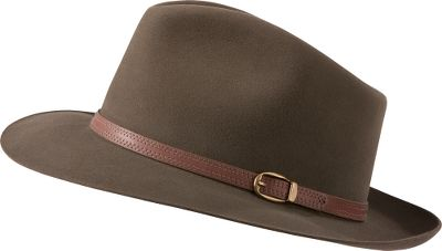 Designed exclusively for Cabelas customers, this rugged, sharp-looking Stetson Mens Three Forks Hat features a 2.5 brim. Hat body is rabbit and hare fur with a teardrop-style, pinch-front crown. Eye-catching genuine-leather headband with wax-cord stitching and antique-brass stud detail. Made in USA. Sizes: 6-3/4, 6-7/8, 7, 7-1/8, 7-1/4, 7-3/8, 7-1/2, 7-5/8. Colors: Chocolate, Sage. Size: 6 7. Color: Sage. Gender: Male. Age Group: Adult. Material: Fur. - $149.99