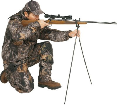 "Hunting A shooting stick with wider-diameter tubing promotes rock-steady shooting with heavier guns. Use it to dramatically improve your accuracy while sitting, kneeling, stalking or stand hunting. The lightweight, rugged aluminum legs fold to 14"" for transport, assemble to 39"" with internal shock-cord system. Includes belt sheath carrier. Made in USA.Color: Black. - $39.99"