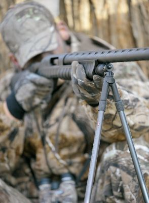 Hunting Steady your shots when aiming your shotgun at that trophy tom or buck. The Rapid Pivot Bipod with a Bipod/Tripod Attachment instantly clips onto the front swivel stud on your shotgun. Its fast, pivoting action allows you to follow moving game in any direction with 360 rotation right or left and full up-and-down movement for shots uphill or downhill. You can also remove the threaded attachment and mount it on a threaded hiking staff for use as a monopod. The attachments rubberized construction allows for silent mounting and all-weather use. Bipod legs adjust from 25 to 43, making it ideal for shooting from a sitting or kneeling position. Weight: 12 oz. - $16.88