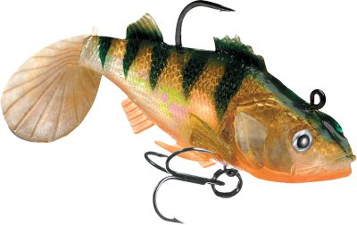 Fishing When pike are on the prowl, they will never pass up an easy strike at a perch. Each of these baits boasts natural color patterns, holographic Swimmin' Flash Foil and a realistic swimming action to give it a look that mirrors the real thing. Rigged with a strong, soft body and an internal lead head. Equipped with a superior VMC needlepoint and a treble belly hook. Per 3. Sizes: 2 , 3/16 oz. 3 , 1/4 oz. 4 , 3/8 oz. Color: Natural. Type: Rigged Plastic Swimbaits. - $5.49
