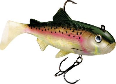 "Fishing Entice large predator fish with this convincing trout imitation. A secure I-bolt system of holographic WildEyes gives these baits that little extra that's often needed when fish aren't buying what you're selling. Add in natural color patterns, holographic Swimmin' Flash Foil and a realistic swimming action and you have a bait that will draw strikes under any fishing conditions. Rigged with a strong, soft body and an internal lead head; and equipped with a superior VMC needlepoint and a treble belly hook. Per each.Sizes: 5"", 1/2 oz.6"", 5/8 oz. - $3.88"