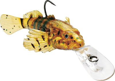 "Fishing Proven effective in tournaments across America, the humble goby is quickly becoming a go-to bait for anglers because bass can't get enough of them. It has a segmented soft-plastic body with a kicking tail for lifelike swimming with a naturally smooth action. A single hook on its back enables snag-free bottom-running. Holographic inserts and true-to-life WildEye for a motion-triggered cascading flash that peaks the interest of hungry predators. Durable polycarbonate lip. Per each.Size: 4"", 1 oz.Running depth: 4-8 ft. Color: Natural. - $5.49"