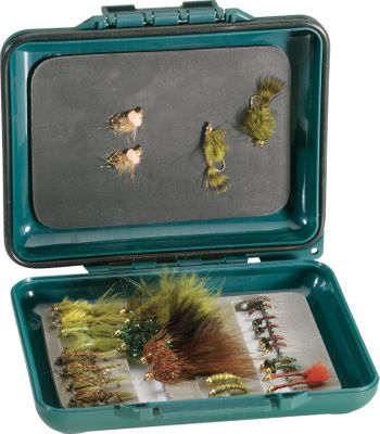 Fishing Rubber gasket seals out water, keeping flies dry. One side has slip-foam storage for larger flies and the other side has a magnetic plate to securely hold small midges and nymphs. Durable, anti-slip rubber coating. Flies not included. Imported.Dimensions: 5L x 4-1/4W x 7/8D. - $16.99