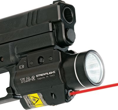 Fitness These long-running, shockproof Streamlight Handgun Lights are capable of projecting up to 160 lumens of light from their 3-watt Luxeon LEDs. Rugged aluminum bodies. Mounts to side-mounting Glock or 1913 Picatinny-style rails. Waterproof to 39 for one hour. Ambidextrous momentary or constant-on switch. Batteries included. Dimensions: 3.39L x 1.42W x 1.83H. Intensity: 12,000 Candela Output: 300 Lumens Available: TLR-1 Fast and adjustable. Runs up to 2-1/2 hours on two 3-volt CR-123A batteries. Light has a strobe light feature. Fits most light-bearing holsters. (not shown.) Weight: 4.18 oz. TLR-2 Adds the versatility of a laser sight to the blinding-light performance of the TLR-1. Runs up to 2-1/2 hours on two 3-volt CR-123A batteries in light mode and more than 45 hours in laser-only mode. Mounts securely in seconds without tools and has highly accurate sight repeatability when remounting. Light now has a strobe feature. Fits most light-bearing holsters. Weight: 4.72 oz. Available: Red Laser, Green Laser. Color: Green. - $129.99
