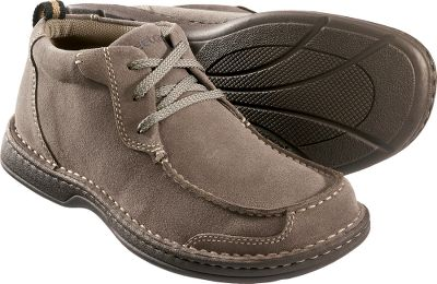 Enjoy feet-pleasing comfort indoors and outdoors with this great-looking footwear. Ventilated My Travel footbeds keep feet feeling fresh all day. The three-eyelet Chukkas have double-stitched suede uppers, butted seam vamp corner-stitch construction and flexible rubber outsoles. Imported. Mens sizes: 8-13 medium width. Half sizes to 12. Colors: Sand, Autumn Brown. - $39.88