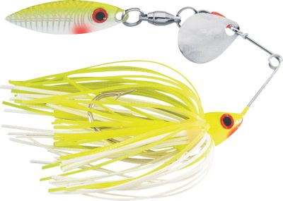 Fishing With its smaller profile and small-frame wire, these spinnerbaits are deadly on bass, panfish, trout or walleye. Yet, the Red Eye Mini King still has the castability and running depth of heavier models. The Diamond Dust head and skirt offer plenty of attraction for wary fish, particularly in heavily pressured waters. The single Colorado/willow blade delivers pulsating action. Each has a Spin-eze ball-bearing swivel. Per each. Size: 1/8 oz. Colors: (003)Chartreuse/White, (001)Chartreuse, (012)White, (045)Chartreuse/Green/Orange. Color: Red. Type: Spinnerbaits. - $3.59