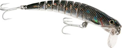 "Fishing This articulated swimbait uses Strike Pro's patented ""Bike Chain"" joint system for superior action and incredible swimming motion. The perfect bait for many fresh and saltwater species. VMC hooks. Per each.Sizes:4-1/4"", 3/4 oz.4-3/4"", 1-1/8 oz.Colors: (001)Black Diamond, (002)Firetiger, (003)Gold, (004)Indigo Tiger, (005)Red Head Diamond, (006)Grey Ghost, (007)Bunker, (030)Sensuous Shad. - $7.88"