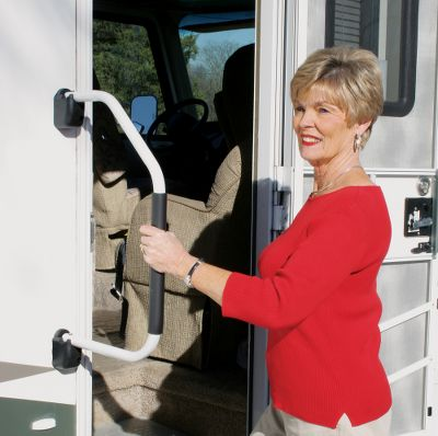 Motorsports This powder-coated aluminum handle swings into place when you need it and swings back to store flat against the side of your RV when in transit. Simple switch locks handle securely open or closed. High-density foam grip on handle won't slip, even with repeated use. Made in USA. - $24.99