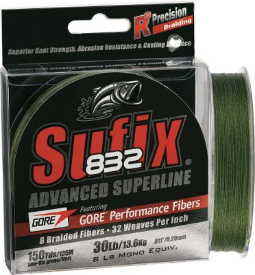 Fishing Next-generation GORE Performance Fibers make this the strongest, most durable Sufix braid available. Mixed with Dyneema fibers, its 32-weave-per-inch braid provides 20% more tensile strength and 30% stronger Palomar knots. This quiet-casting braid preserved its roundness and 95% of its tensile strength during 1,000 test cycles, making it three times more fray- and abrasion-resistant than other braided lines. Side-by-side testing also revealed that it casted an average of 10urther than braided line without GOREPerformance Fibers. Thermal Plastic Gel technology locks in line color. Lb. Test Monofilament Equivalent Diameter (lb. test) Dia. (in.) Yds. Available Color(s) 6 2 0.006 150 Green, Neon Lime 6 2 0.006 300 - $21.99