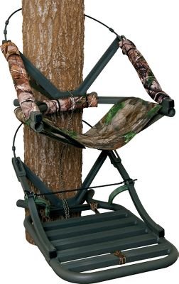Hunting Weighing in at just 14 lbs., this open-front climbing stand is ideal for bowhunters who hunt off the beaten path. Theres no front bar getting in the way of your limbs, increasing your range of motion. Its high-tech, round-aluminum tubing adds strength without extra weight, and it has sound-diminishing Dead Metal technology. A mesh, sling-style seat, backrest and 16 camo arm pads deliver all-day comfort. RapidClimb stirrups eliminate the need for straps, while double-coated steel climbing cables are durable and strong. Stand is tested to TMAstandards. Includes a full-body safety harness with Suspension Relief System (SRS), utility strap and stand umbilical rope. Made in USA.Weight capacity: 250 lbs.Size: 19.5W x 28-3/4D.Camo pattern: Realtree AP. A Video Public Service Announcement from theTREESTAND MANUFACTURERS ASSOCIATION Type: Climbing Stands. - $329.99