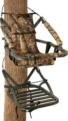 Hunting With its 2 wider seat and 350-lb. weight capacity, this stand is engineered to keep large-framed hunters safe and comfortable.All-aluminum SummitLokt construction. All-new, Dead Metal Technology for added noise reduction. QuickDraw cable system quickly secures the stand to the tree. RapidClimb Stirrups eliminate the need for straps. Just slip your feet under the bars and start climbing. Stand is tested to TMAstandards. Includes a full-body safety harness with Suspension Relief System (SRS) and carrying straps. Made in USA.Seat size: 18 x 12.Platform size: 20 x 28-3/4.Weight: 21 lbs. Weight capacity: 350 lbs.Camo pattern: Realtree AP. A Video Public Service Announcement from theTREESTAND MANUFACTURERS ASSOCIATION Type: Climbing Stands. - $299.99