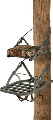 Hunting It weighs in at a mere 15 lbs., but hunts solid. The QuickDraw trigger system quickly secures the stand to the tree. RapidClimb Stirrups are easy to slip your feet into no straps to mess with. Fold-up seat makes climbing easy and allows for leaning against the tree with a padded buffer. Expanding foam lines critical platform parts for excellent noise reduction. Extruded-aluminum Summit Lokt construction locks all joints before welding for extra strength. Stand is tested to TMAstandards. Includes a full-body safety harness with Suspension Relief System (SRS) and carrying straps. Made in USA. Seat size: 18 x 12.Platform size: 20 x 24-3/4.Weight: 15 lbs. Weight capacity: 300 lbs.Camo pattern: Realtree AP. A Video Public Service Announcement from theTREESTAND MANUFACTURERS ASSOCIATION Type: Climbing Stands. - $249.99