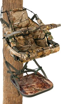 Hunting When Summit took their top-of-the-line Viper treestand and turned it into the Ultimate stand, they went above and beyond ordinary upgrades. They added a fully adjustable gunrest and a thick, camouflage-covered platform comfort mat to relieve fatigue. Critical platform parts are filled with a noise-reducing expanding foam using Dead Metal Technology. Includes a custom drop-down camo blind thats easy to deploy from the front guard bar and rolls up to store. Has storage pouches to insert heat packs, accessories and snacks. Stand is tested to TMA standards. Includes RapidClimb Stirrups, a full-body safety harness with Suspension Relief System (SRS) and carrying straps. Made in USA.Seat size: 18 x 12.Platform size: 20 x 28-3/4.Weight: 26 lbs. Weight capacity:300 lbs.Camo pattern: Realtree AP. A Video Public Service Announcement from theTREESTAND MANUFACTURERS ASSOCIATION Type: Climbing Stands. - $399.99