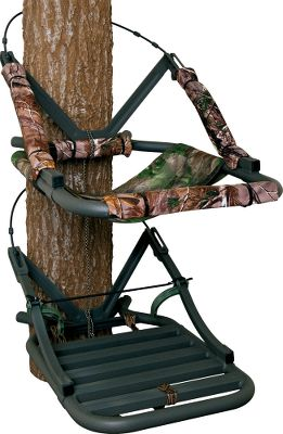 Hunting A closed-front climbing stand that sports a comfortable mesh, sling-style seat and backrest for all-day hunts. High-tech aluminum perimeter tubing keeps weight to a convenient 16 lbs. Dead Metal Technology delivers optimum stealth thats critical when close to big game. A solid front bar makes climbing easier and doubles as a gunrest, while three 16 camo arm pads make your stand more comfortable. RapidClimb stirrups eliminate the need for straps, while double-coated steel climbing cables are durable and strong. Stand is tested to TMAstandards. Includes a full-body safety harness with Suspension Relief System (SRS). Utility strap and stand umbilical rope. Made in USA. Seat height: Adjustable. Seat size: 12''L x 18''W. Platform size: 28.75''L x 19.5''W. Weight: 16 lbs. Weight capacity: 250 lbs. Camo pattern: Realtree AP. A Video Public Service Announcement from the TREESTAND MANUFACTURERS ASSOCIATION Color: Camo. - $244.88
