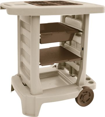 Camp and Hike Resin-constructed garden cart makes tending to your outdoor plants a breeze. Handle and wheels allows for hassle-free portability. Interchangeable shelving includes: a 4 soil-mixing bin; a solid arrangement shelf; and a vented potting shelf. Accessible slots hold garden tools. Tool-free assembly. Made in USA.Dimensions: 29H x 29W x 2D.Weight: 12.2 lbs. - $99.99