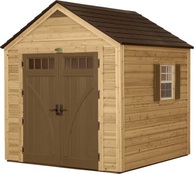 Camp and Hike Protect outdoor equipment with the combined strength of wood and resin. The walls of the Hybrid Shed are made of reliable, beautiful wood, and the ceiling and extra-reinforced floor are made of super-durable resin. The blow-molded resin doors come with cast-aluminum handles. Shed has two windows (13H x 23W) and a vent. Easy assembly. Imported. Entrance dimensions: 62H x 5W. Shed dimensions: 8H x 8W x 8D. Weight: 900 lbs. - $2,999.99