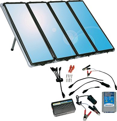 "Motorsports This all-inclusive kit supplies economical power anywhere the sun shines. The solar panels utilize amorphous solar cells capable of producing power in cloudy, low-light conditions and in temperatures down to -40 F. If you need more power, simply hook up additional panels (up to 10). It makes a great addition to an RV or a home as an extra source of power. Kit includes everything you need for easy installation. Can be used to charge a 12-volt battery (sold separately). Built-in blocking diode protects against battery discharge at night. Kit includes PVC mounting frame, 7-amp charge controller, 175-watt inverter and all wiring and connecting cable. Maximum power output of 60 watts or 4 amps in ideal conditions. Manufacturer's five-year warranty.Total weight: 55 lbs. Each panel measures: 36"" x 12"". - $299.99"