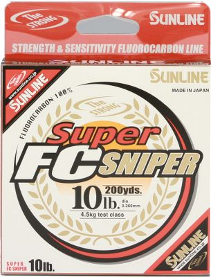 Fishing Specialized triple-resin coating on Sunlines Super FC Sniper Fluorocarbon Line creates the soft, supple handling needed to cast with control, and it delivers the giving resistance needed during sudden, aggressive strikes. Equipped with low memory, excellent abrasion resistance and a constant uniform diameter, this clear, long-lasting line is made to withstand abuse. Crafted of 100% fluorocarbon. Lb. Test Dia. (in.) 200-Yd. Spool Color(s) 660-Yd. Spool Color(s) 5 - - Clear 6 0.0081 Clear - 8 0.0093 Clear, Green Clear 10 0.0102 - $22.99