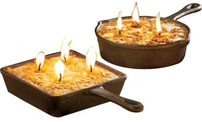 Each gift set includes one round and one square cast-iron skillet. Each skillet is filled with a clean-burning American soybean wax candle that looks like a favorite dessert. Both skillets in the set are 5-1/2 wide. Candles burn for 18 hours. Available: Gingerbread/Espresso, Apple/Cinnamon. Color: Espresso. Type: Candles. - $29.99